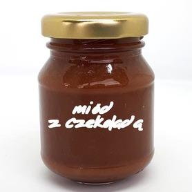 produkt z pasieki w Wysychach, pszczoły i my, miód z czekoladą, miód z gorzką czekoladą, wedlowska czekolada, 100 g