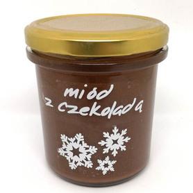produkt z pasieki w Wysychach, pszczoły i my, miód z czekoladą, miód z gorzką czekoladą, wedlowska czekolada, 400 g