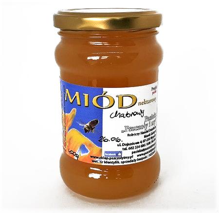 miód chabrowy w słoiku o pojemności 400 g