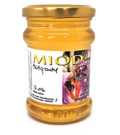 Miód akacjowy płynny w słoiku o pojemności 400 g
