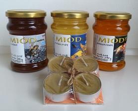 zestaw trzech miodów z pasieki pszczoły i my oraz gratisowe 4 świeczki z naturalnego wosku pszczelego